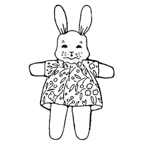 Click for larger picture of DISCONTINUED TOY GIRL BUNNY RUBBER STAMP PARTY SUPPLIES