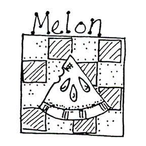 DISCONTINUED MELON CHECKER RUBBER STAMP PARTY SUPPLIES