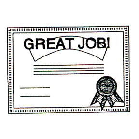 Click for larger picture of DISCONTINUED GREAT JOB AWARD RBBR STAMP PARTY SUPPLIES
