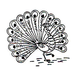 Click for larger picture of DISCONTINUED PEACOCK 2 RUBBER STAMP PARTY SUPPLIES