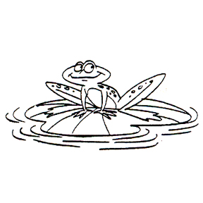 DISCONTINUED FROG ON LILY PAD  STAMP PARTY SUPPLIES