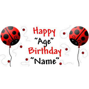 personalized banner youth party supplies - personalized ladybug