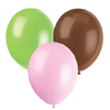 PINK, BROWN & LT GREEN BALLOON (SOLID) PARTY SUPPLIES