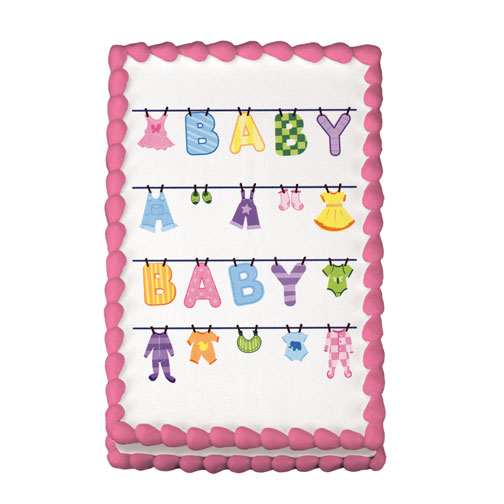 Click for larger picture of BABY CLOTHESLINE EDIBLE ICING ART PARTY SUPPLIES