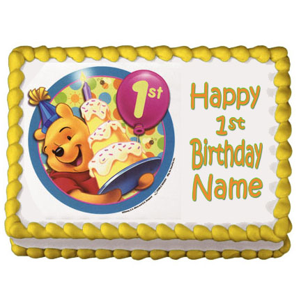Click for larger picture of DISCONTINUED POOH 1ST BDAY EDIBLE ART PARTY SUPPLIES