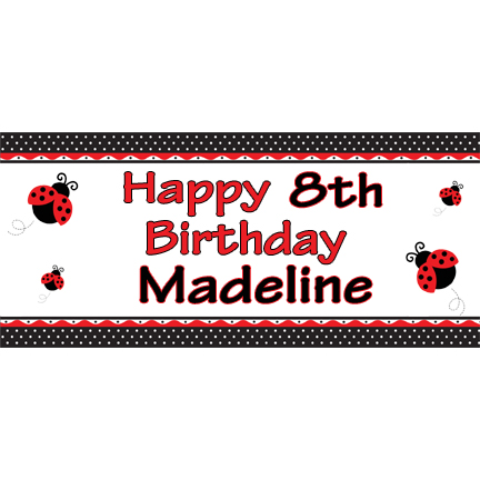 personalized banner youth party supplies personalized ladybug