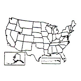 Click for larger picture of DISCONTINUED MAP OF UNITED STATES STAMP PARTY SUPPLIES