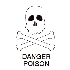 DISCONTINUED DANGER POISON RUBBER STAMP PARTY SUPPLIES