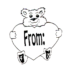 DISCONTINUED BEAR W/FROM HEART  STAMP PARTY SUPPLIES