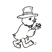 Click for larger picture of DISCONTINUED DUCK W/HAT WALKING  STAMP PARTY SUPPLIES