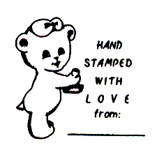 DISCONTINUED HAND STAMPED BEAR  STAMP PARTY SUPPLIES