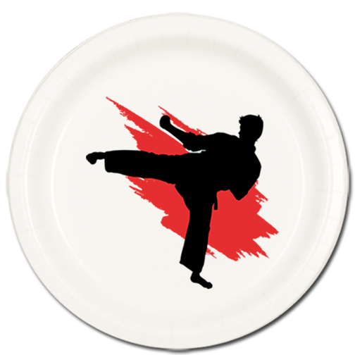 MARTIAL ARTS DESSERT PLATE 8/PKG PARTY SUPPLIES