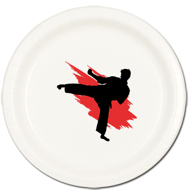 MARTIAL ARTS DINNER PLATE 8/PKG PARTY SUPPLIES