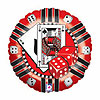 18IN. CASINO CHIP MYLAR BALLOON (5/CS) PARTY SUPPLIES