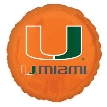 18IN. U OF MIAMI MYLAR BALLOON (5/CS) PARTY SUPPLIES