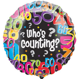 18IN. WHO'S COUNTING MYLAR BALLON (5/CS) PARTY SUPPLIES