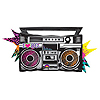 TOTALLY 80'S JUMBO BOOMBOX MYLAR PARTY SUPPLIES