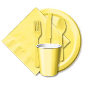 BULK LT YELLOW TABLEWARE