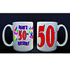 PERSONALIZED 50TH BALLOON MUG PARTY SUPPLIES
