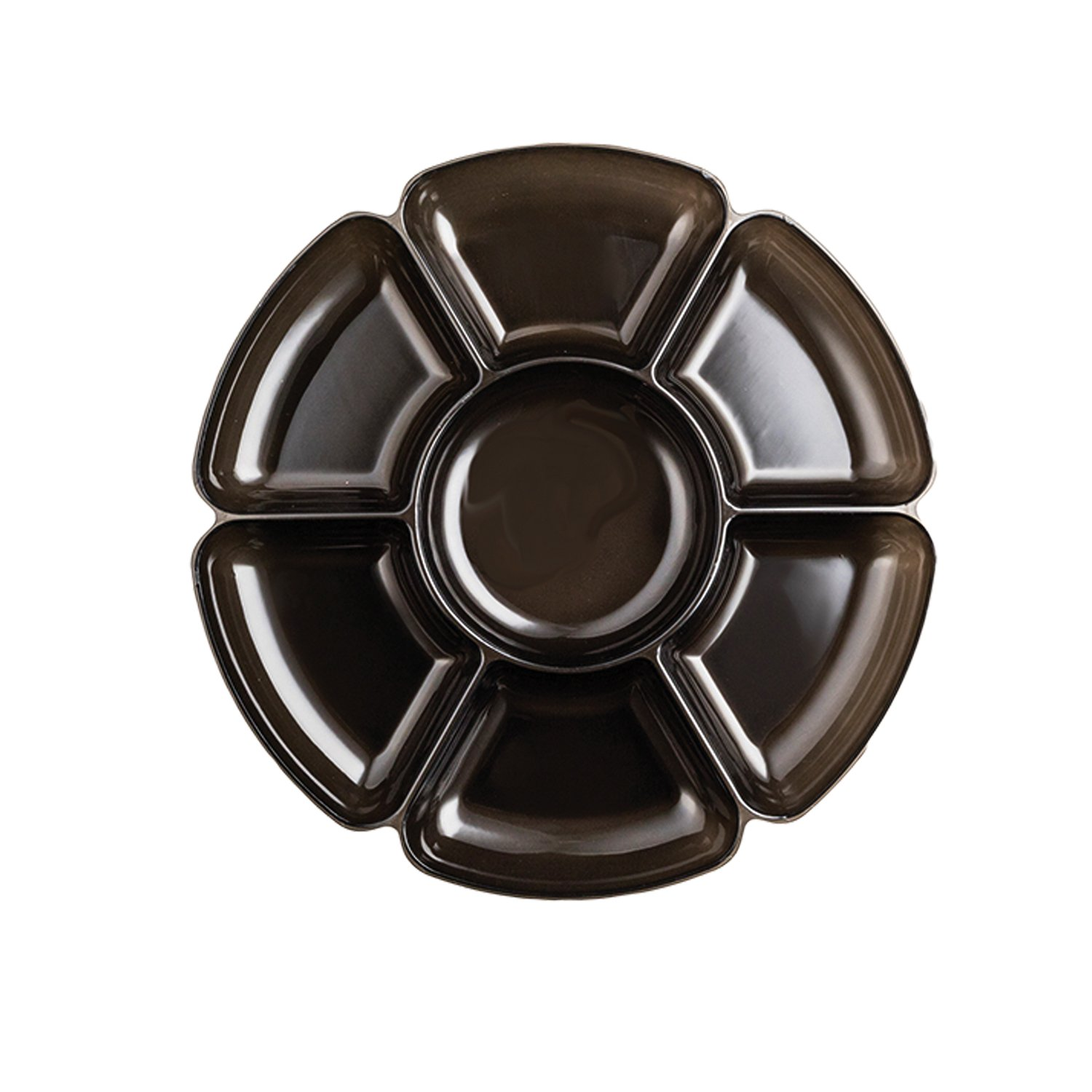 BLACK 16INCH ROUND 7 COMP TRAY PARTY SUPPLIES