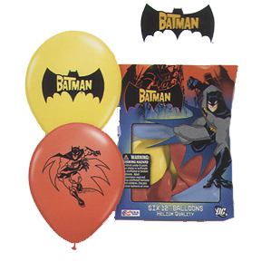 Click for larger picture of BATMAN PRINTED LATEX BALLOONS (6/PKG) PARTY SUPPLIES
