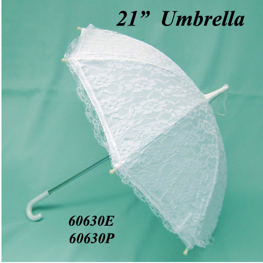 Click for larger picture of WHITE LACE UMBRELLA (21 in.) PARTY SUPPLIES