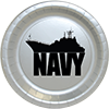 US NAVY SHIP SILVER DESSERT PLATE 8/CT PARTY SUPPLIES