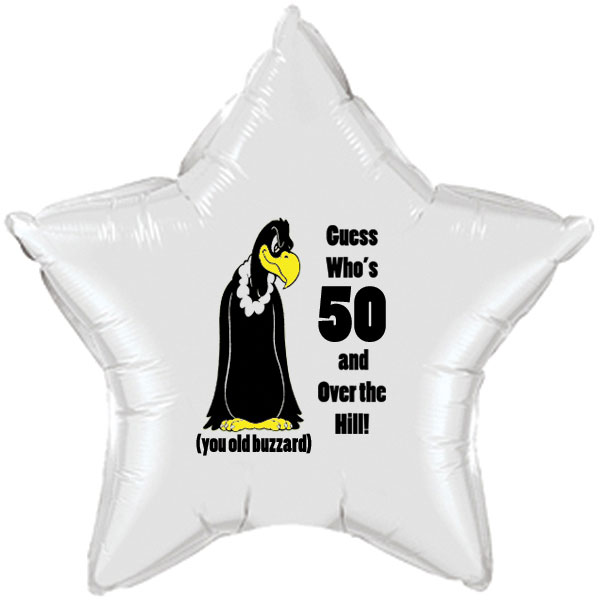 Click For Larger Picture Of OVER THE HILL 50TH BUZZARD MYLAR BALLOON PARTY SUPPLIES