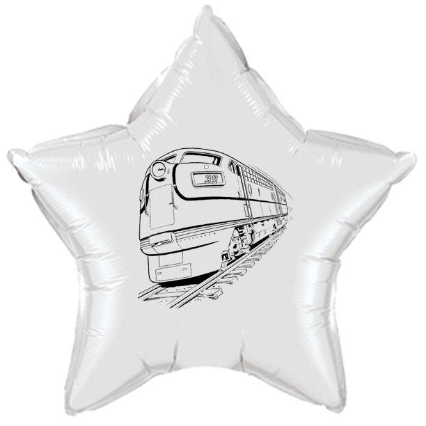 Click for larger picture of PASSENGER TRAIN MYLAR BALLOON PARTY SUPPLIES