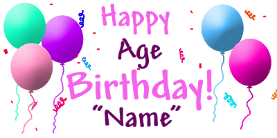 Click for larger picture of PERSONALIZED PASTEL BALLOON BANNER PARTY SUPPLIES