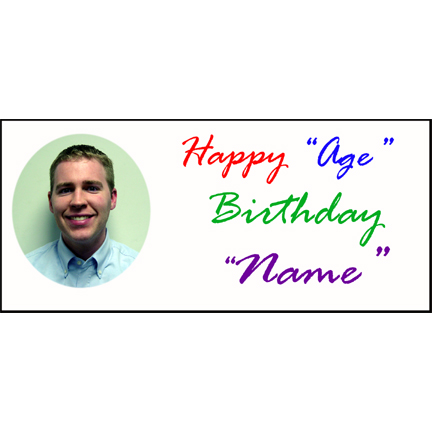 Click for larger picture of BIRTHDAY SCRIPT PICTURE BANNER(18X40IN.) PARTY SUPPLIES