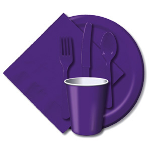 BULK PURPLE TABLEWARE