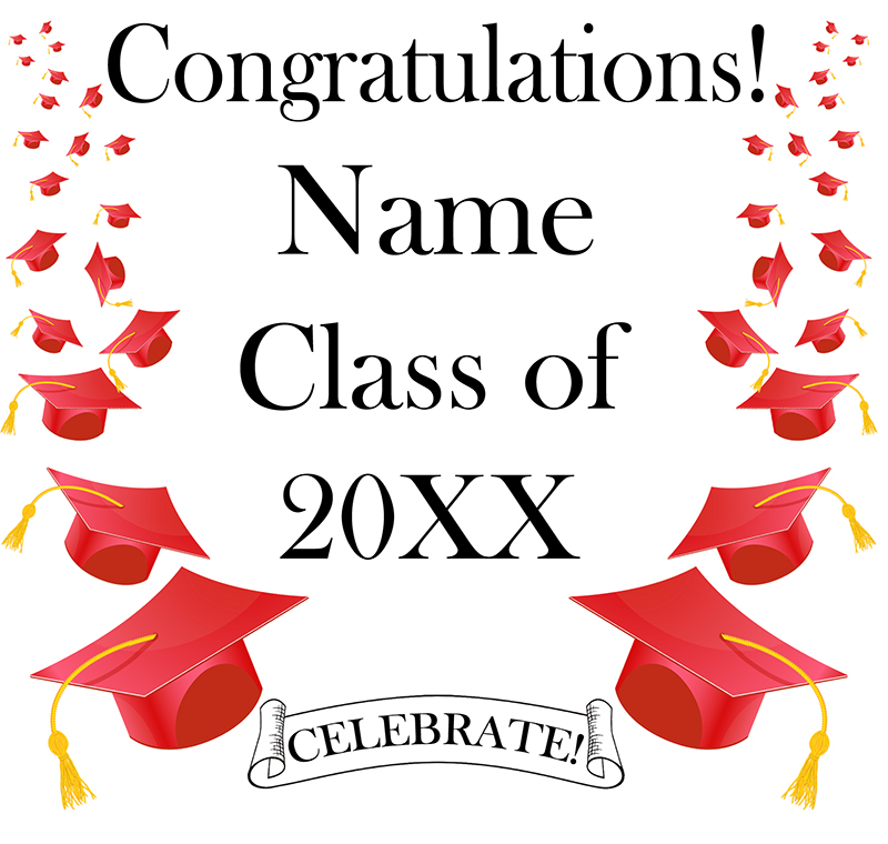 Click for larger picture of RED MORTARBOARD GRAD DOOR BANNER PARTY SUPPLIES