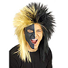 SPORTS FANATIC WIG- BLACK/GOLD PARTY SUPPLIES