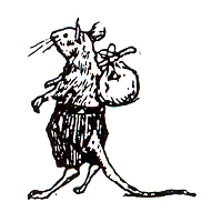 Click for larger picture of DISCONTINUED HOBO MOUSE RUBBER STAMP PARTY SUPPLIES