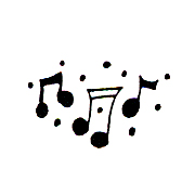 Click for larger picture of DISCONTINUED THREE MUSIC NOTES  STAMP PARTY SUPPLIES