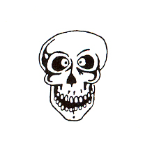 DISCONTINUED SCARY SKULL RUBBER STAMP PARTY SUPPLIES