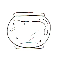 DISCONTINUED FISH BOWL RUBBER STAMP PARTY SUPPLIES