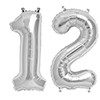 12 SILVER MYLAR BALLOONS (34 INCH) PARTY SUPPLIES