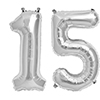 15 SILVER MYLAR BALLOONS (34 INCH) PARTY SUPPLIES