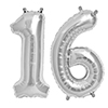 16 SILVER MYLAR BALLOONS (34 INCH) PARTY SUPPLIES