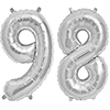 98 SILVER MYLAR BALLOONS (34 INCH) PARTY SUPPLIES