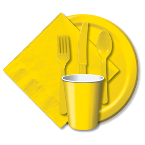 BULK GOLDEN YELLOW TABLEWARE