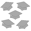 SILVER MORTARBOARD GRAD DECO FETTI PARTY SUPPLIES