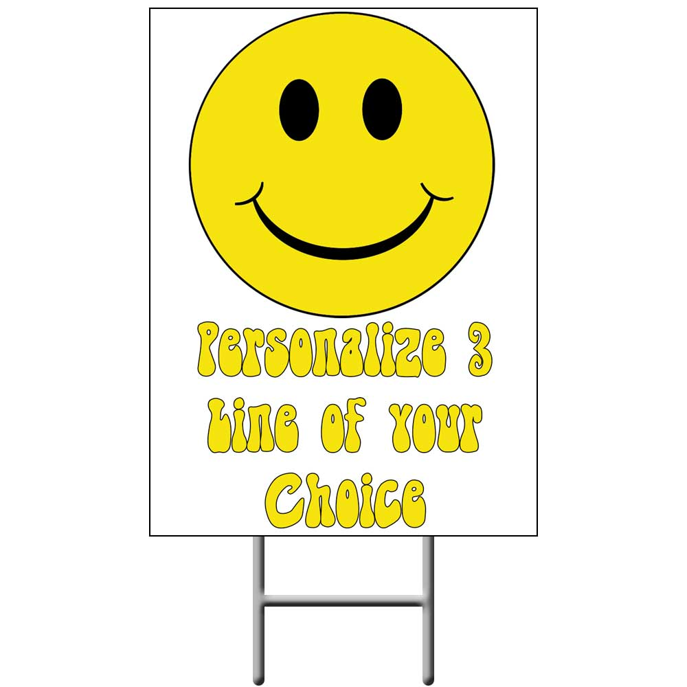 Click for larger picture of SMILEY FACE YARD SIGN PARTY SUPPLIES