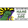 PERSONALIZED GREEN SUPER HERO BANNER PARTY SUPPLIES