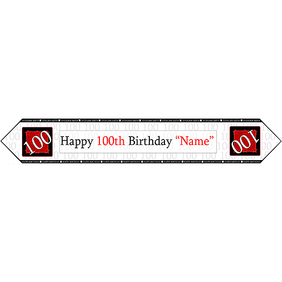 100TH BIRTHDAY RED TABLE BANNER PARTY SUPPLIES