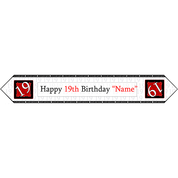 19TH BIRTHDAY RED TABLE BANNER PARTY SUPPLIES