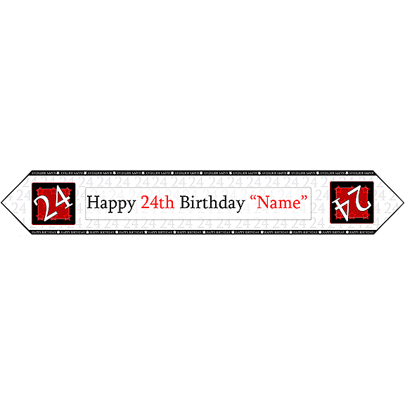 24TH BIRTHDAY RED TABLE BANNER PARTY SUPPLIES