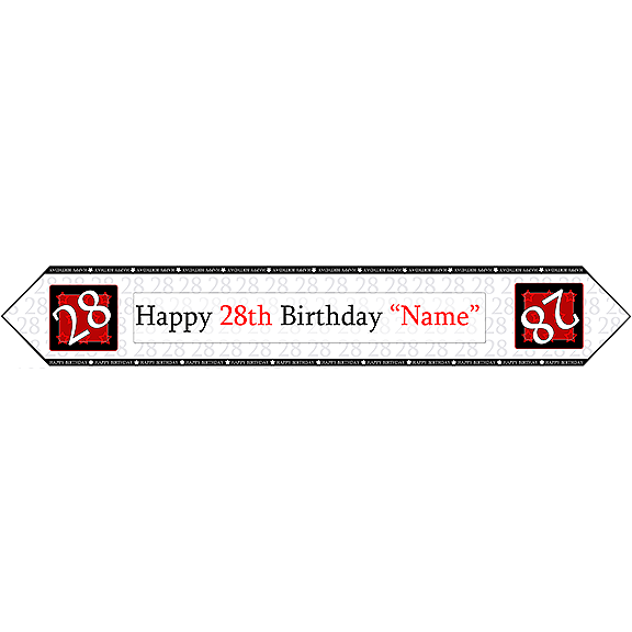 Click for larger picture of 28TH BIRTHDAY RED TABLE BANNER PARTY SUPPLIES